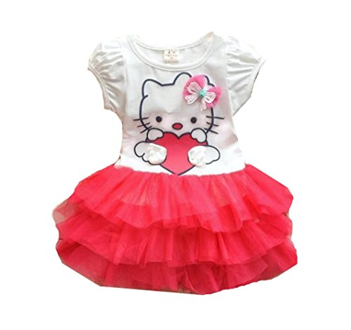 [Rush Dance Happy Birthday Hello Kitty Bow One Piece Top & Tulle Tutu Skirt Set (4T, Red)] (Tutu Halloween Costumes For Teenage Girls)