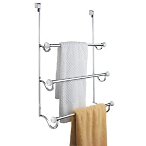 InterDesign York Over-the-Shower-Door 3-Bar Towel Rack, White and Chrome
