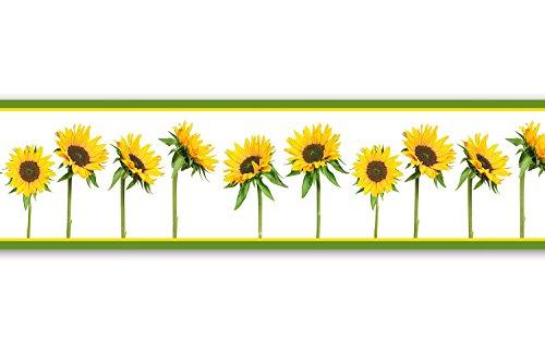 Colle-Frise-Tournesols-4-pices-520-x-15-cm-Frise-papier-peint-Frise-murale-galon-dcoration-murale-soleil-jardin
