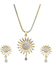 Zeneme Sun Shaped American Diamond Gold Plated Pendant Set With Earring For Girls / Women