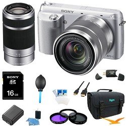 Sony NEX-F3K/S NEX-F3KS NEXF3KS NEXF3K NEX-F3K 16.1 MP Compact System Camera with 18-55mm Lens (Silver) ULTIMATE Bundle with Sony E 55-210mm F4.5-6.3 Lens for Sony NEX Cameras, 16GB High Speed Card, Deluxe Filter Kit, Spare Battery, Padded Case+ More