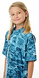 Aqua Design Youth Relaxed Fit UPF50+ Sun Protection Surf Swim Rash Guard Shirt, Ocean Blue, Medium