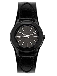 French Connection FC1064BB FCUK Black Leather Strap Cuff Watch