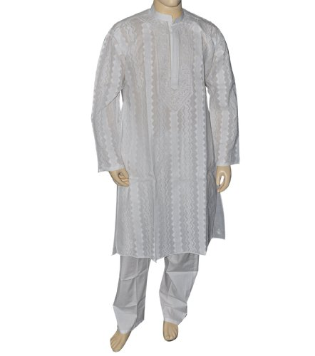 Present for Him White Cotton Chikan Cut Work Kurta Pajama from India Chest Size : 121.92 cms