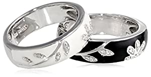 Sterling Silver Black White Enamel Floral Diamond Stack Ring (1/10 cttw), Size 7