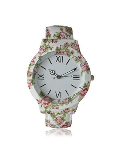 Olivia Pratt Women's 26418 White Flowers and Peace Cuff Alloy Watch