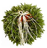Bay Leaf Wreath with Chilies and Raffia