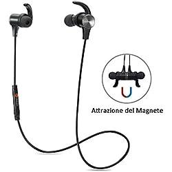 Cuffie Bluetooth Magnetiche, TaoTronics Auricolari Sportivi Wireless Stereo (Bluetooth 4.1, aptX, A2DP, 6 ore di Riproduzione, Microfono incorporato, CVC 6.0) per iPhone, Samsung, Tablet, MP3, ecc. -Nero