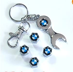 Bmw Tire Valve Caps With Wrench Keychain by Trendy Base
