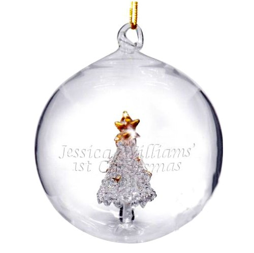 PERSONALISED HANDMADE GLASS CHRISTMAS TREE BAUBLE