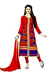 Pehnawa Fashion Women Goerget Unstitched Dress Material (Red)