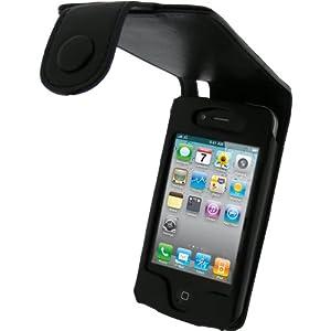 igadgitz echtes Leder Tasche Schutzhülle Etui Case Hülle Handytasche aufklappbar in Schwarz für Apple iPhone 4 & 4S 16gb 32gb 64gb + abnnehmbare Gürtelbefestigung + Display Schutzfolie