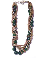 V3 Craft's Twisted Resin Leather And Crystal Chains Necklace For Women