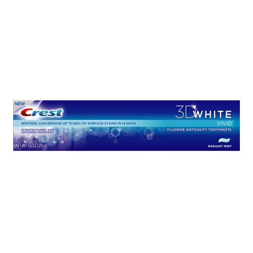 Crest - 3D White Vivid Toothpaste Radiant Mint, 7.6 oz (Pack of 4)