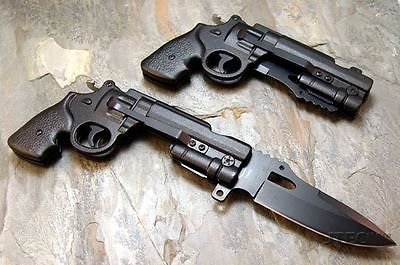 Pistol Knife Spring Assisted Revolver Gun Black Folding Pocket Knife Jt158