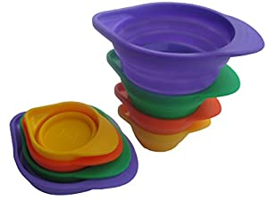 Collapsible Measuring Cups By MGE Chef - Nesting Silicone Set of 8 Measuring Cups - Standard (Ounce) and Metric (Ml) Cup Measurements - 4 Sizes -