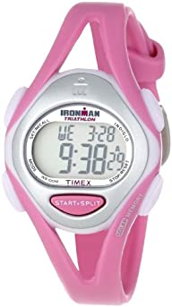 Timex Women's T5K7029J Ironman Sleek 50-Lap Pastels Mid-Size Pink Resin Strap Watch
