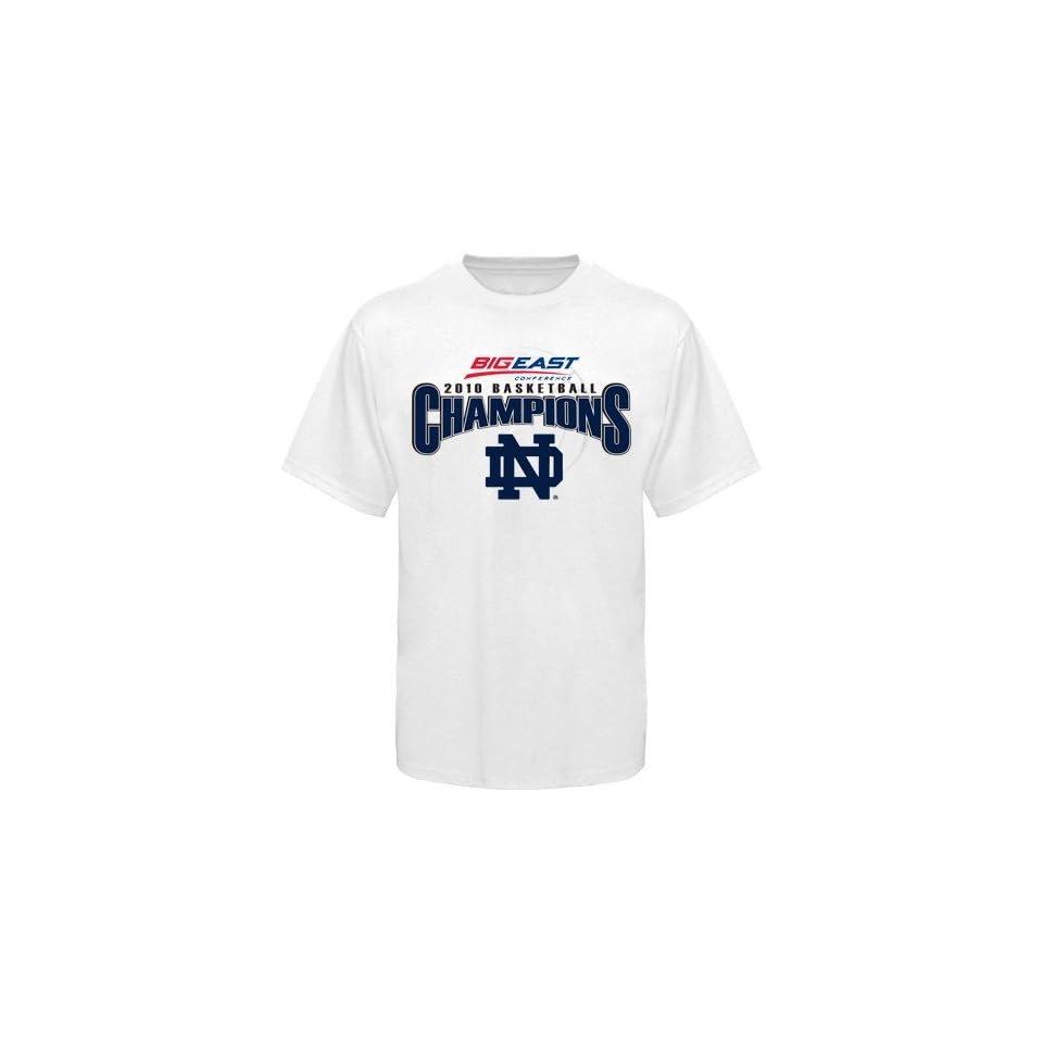 Notre Dame Fighting Irish White 2010 Big East Basketball Tournament Champions Locker Room T shirt