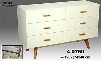 DonRegaloWeb - Comoda de madera con 6 cajones decorada con tiradores y patas en roble y mueble en color blanco
