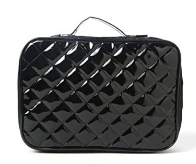 Best Cheap Deal for Miamica Inner Beauty 4 Piece Black Patent Quilted Design Large Travel Cosmetic Case Makeup Beauty Toiletry Bag Holder Organizer from MIAMICA - Free 2 Day Shipping Available