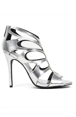 Anne Michelle Rapture-22 Caged Butterfly Cutout Single Sole Sandal - Silver Metallic Wet PU
