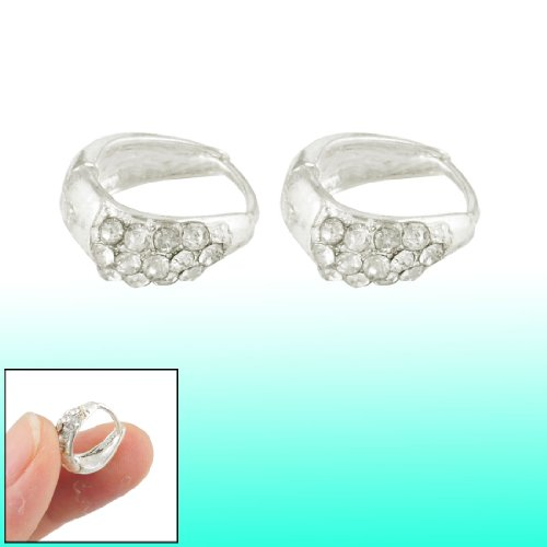 Rosallini Pair Silver Tone Glittery Rhinestones Detailing Clip Earrings for Women