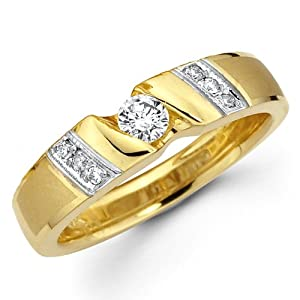 14K Yellow and White 2 Tone Gold Round-cut Diamond Women's Wedding Ring Band (0.26 CTW., G-H Color, SI1-2 Clarity) - Size 6.5