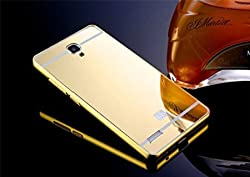 MVE (TM) Branded Luxury Metal Bumper + Acrylic Mirror Back Cover Case For XIAOMI REDMI NOTE / REDMI NOTE PRIME - Gold Plated