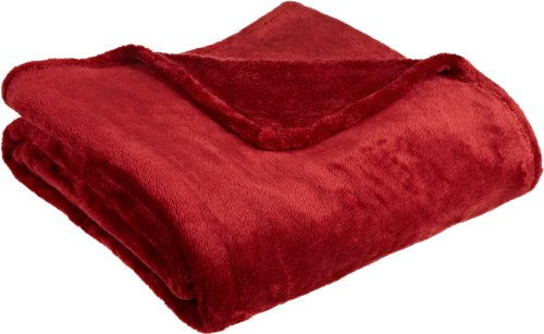 Northpoint Cashmere Plush Velvet Throw, Burgundy front-726229