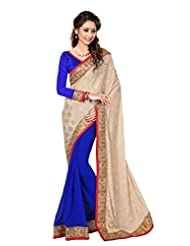Sourbh Saree Delighting Beige And Blue Lace Work Chiffon And Jacquard Half Half Saree For Women,Rakhi Return Gift...