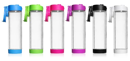 Glass Water Bottle - 16Oz - Double Wall - Flip Cap - 6 Bottle Assortment front-119276