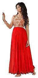 Fashion Bazaar Women's Net Unstitched Salwar Suit (Red)