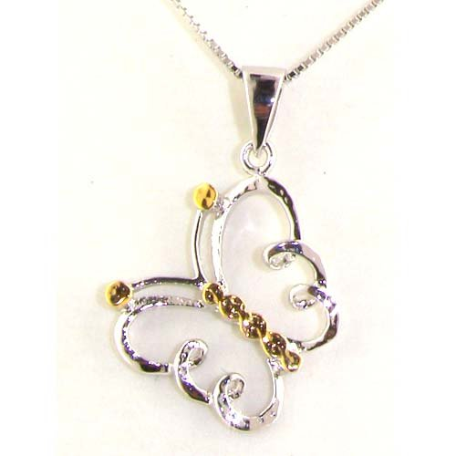 High Quality Sterling Silver & Gold Butterfly Pendant Set & 16