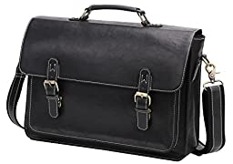 14\'\' PU Leather Briefcase Business Laptop Messenger Bag With Soft Handle Black