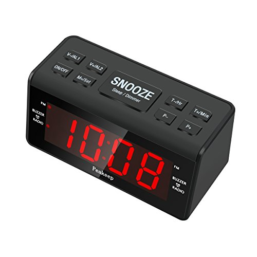 dreamsky large display dual alarm clock with am fm radio battery backup sleep timer and snooze. Black Bedroom Furniture Sets. Home Design Ideas
