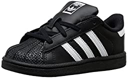 adidas Originals Superstar I Basketball Fashion Sneaker (Infant/Toddler),Black/White/Black,6.5 M US Toddler