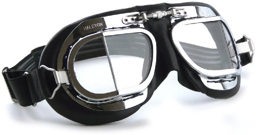 Halcyon MK49 Black Leather Classic Motorcycle Goggles/Classic Flying Goggles