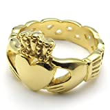KONOV-Jewelry-Stainless-Steel-Band-Celtic-Claddagh-Heart-Crown-Love-Mens-Womens-Ring-Gold