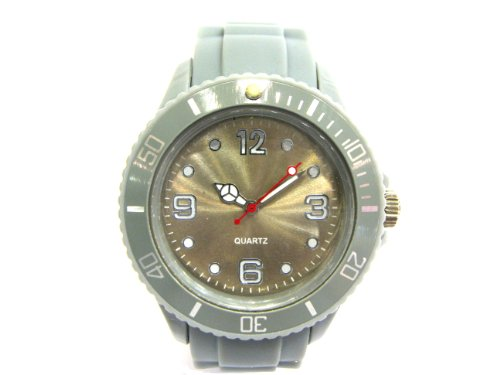 STYLEBOX24 BUNTE SILIKON UHR WATCH GRAU GRAUE GUMMI SMALL FACE ARMBANDUHR DAMENUHR HERRENUHR JELLY NEON FARBIGE