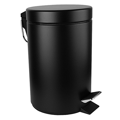 Malmo FE43005LB Mini Carbon Steel Round Step Trash Can,5L/1.3Gallon,Black (Colored Trash Can With Lid compare prices)