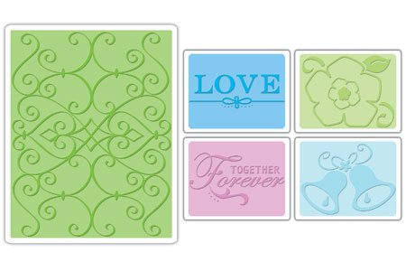 Sizzix Textured Impressions Embossing Folders, 5-Pack, Wedding #2