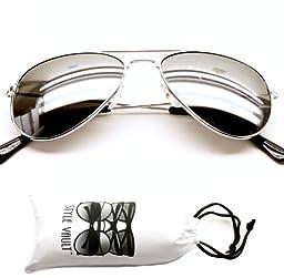 Kd202-vp Kids Childrens Aviator Mirrored Sunglasses (Mr Silver, Mirrored)