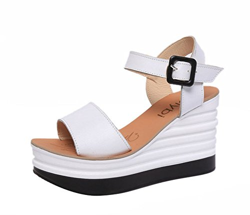 [Freerun Women's Fashion Ankle-Strap Adjustable Buckle Wedge Heel Sandals (6 B(M)US,white)] (Make Shoulder Pads Football Costume)
