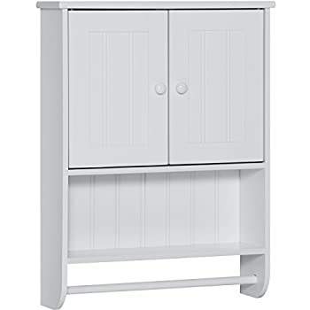Best Choice Products Double Doors Bathroom Wall Storage Cabinet (White)