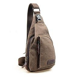 Kalevel Cool Outdoor Sports Casual Canvas Unbalance Backpack Crossbody Sling Bag Shoulder Bag Chest Bag for Men - Size S (Coffee)
