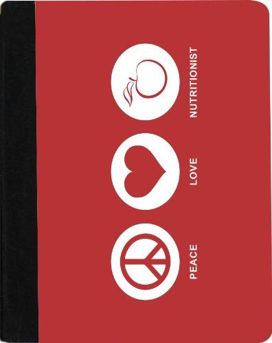 "Rikki Knighttm Peace Love Nutritionist Red Color Design Kindle Fire Hdx 8.9"" (Replaces 2012 Kindle Fire Hd 8.9"") Notebook Case Black Faux Leather (Measures 9.1"" X 6.2"")"