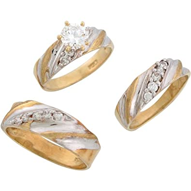 9ct Two Colour Gold White CZ Sleek His And Hers Wedding Ring Trio Set