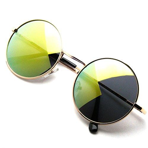 John Lennon Ha Ispirato Occhiali Da Sole Tondo Hippie Sfumature Retrò Revo Colorate Lenti (Verde)