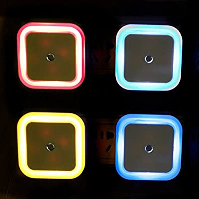 Goldenwide® Smart Control Sensor LED Night Light for Kid's Baby Room, Bedside,corridor,indoor, and Christmas, Festivals (Set of 4 : Blue Orange Pink White)