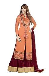 Adah Georgette Dress Material (Orange) - 569-4008